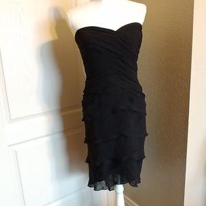 Vintage Tadashi Strapless Silk Cocktail Dress